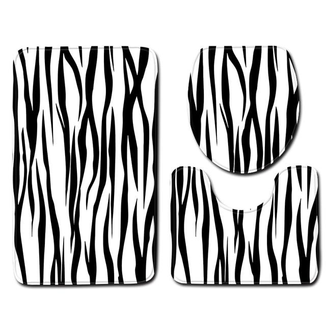 Скандинавском стиле белого и черного цвета с цветочками для вечеринок коврик для унитаза ковер набор ковриков Ванная комната душа ковры для комнаты фланель Нескользящие комплект из 3 предметов Набор ковриков для ванной