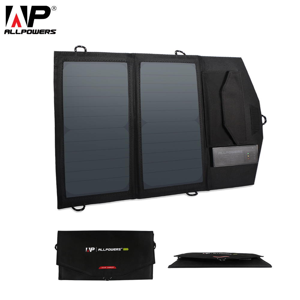 ALLPOWERS Solar <font><b>Power</b></font> <font><b>Bank</b></font> 5V 14W Foldable Portable Solar <font><b>Power</b></font> <font><b>Bank</b></font> for Huawei <font><b>Xiaomi</b></font> iPhone 6 6s 7 8 iPhone X Samsung etc. image
