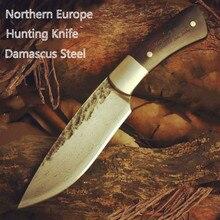 Бесплатная доставка охотничий нож Дамасская сталь нож Nordic ручной ковки нож острыми ножами шаблон стали с высокой твердостью
