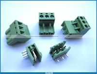 50 Pcs 5 08mm Angle 3 Pin Screw Terminal Block Connector Pluggable Type Green