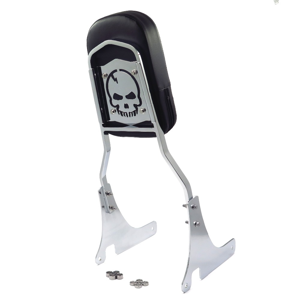 motorcycle parts skull backrest sissy bar leather pad for. Black Bedroom Furniture Sets. Home Design Ideas