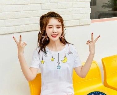 Princesse douce lolita chemise printemps et été douce académie étoile broderie col rond Forking tout match coton chemise VC175