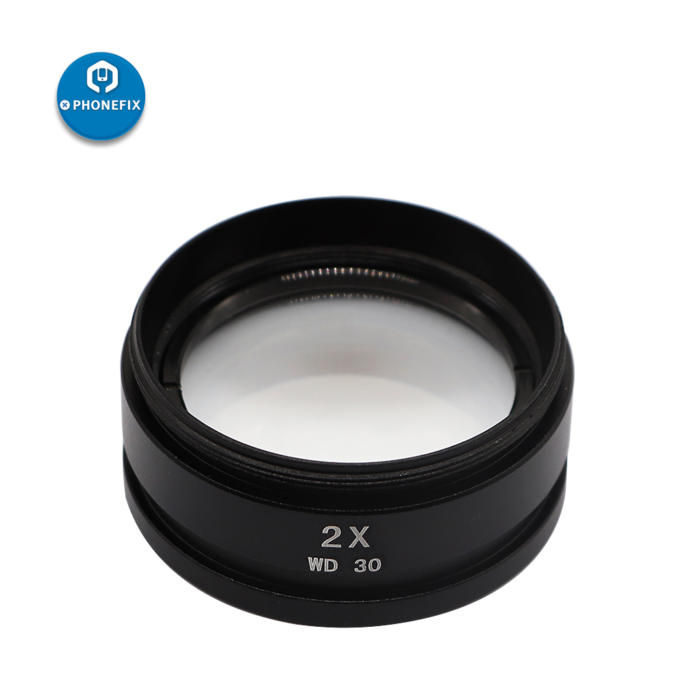 PHONEFIX 0.5X 0.7X 1.0X 2.0X Assisted Auxiliary Objectives Lens Barlow Lens For Stereo Microscope Auxiliary Objectives Lens
