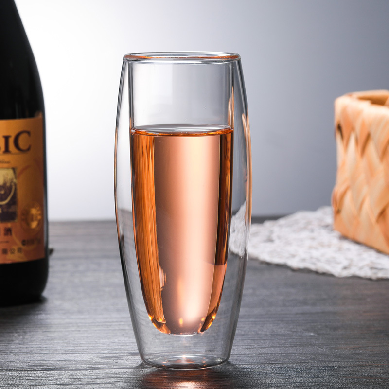 Champagne-Cup Wine-Lemon-Cup Double-Glass-Cup Heat-Resistant Transparent Silicon Creative