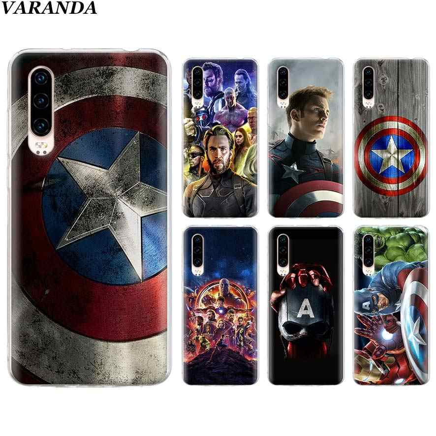 Avengers Marvel Captain America Silicone Soft Case for Huawei P30 Pro P30 P9 P10 P20 Lite P Smart Plus 2019 Clear TPU Case Coque