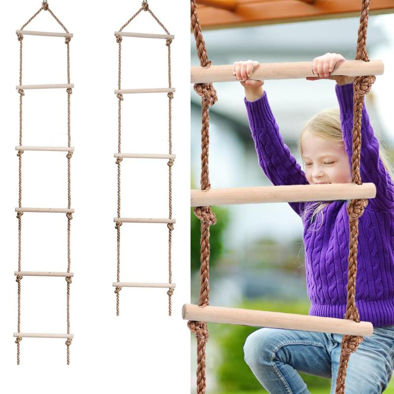 Wooden Rope Ladder Multi Rungs Children Climbing Indoor Outdoor Garden Toy Safe Sports Rope Swing Swivel Rotary Connector Tools