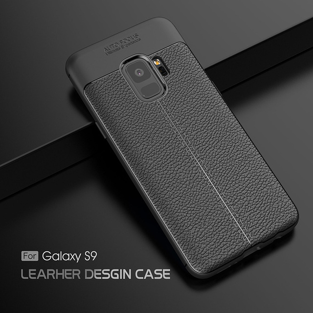 the best attitude 1a921 c0f87 US $70.0 |Wholesale Luxury Lichee Leather Back Phone Case Business Style  Soft Carbon Fiber coque Cover For Galaxy S9-in Half-wrapped Case from ...