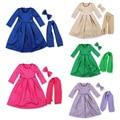 Aercourm Uma Nova Primavera para Crianças Vestido de Meninas TuTu Vestido Cor Sólida Véu Bowknot Três-piece Vestidos Das Meninas 1-5 Anos