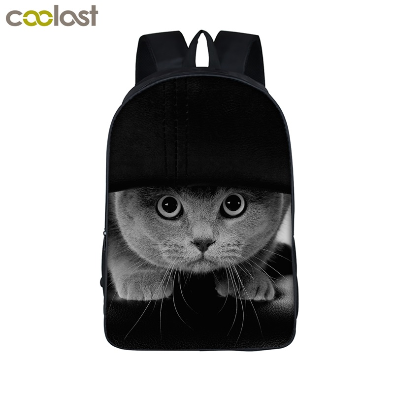 Animal Print Student Backpack Cat / Dog / Tiger / Piggy Backpack For Teens Girls Children School Bags Women Men Laptop Backpack