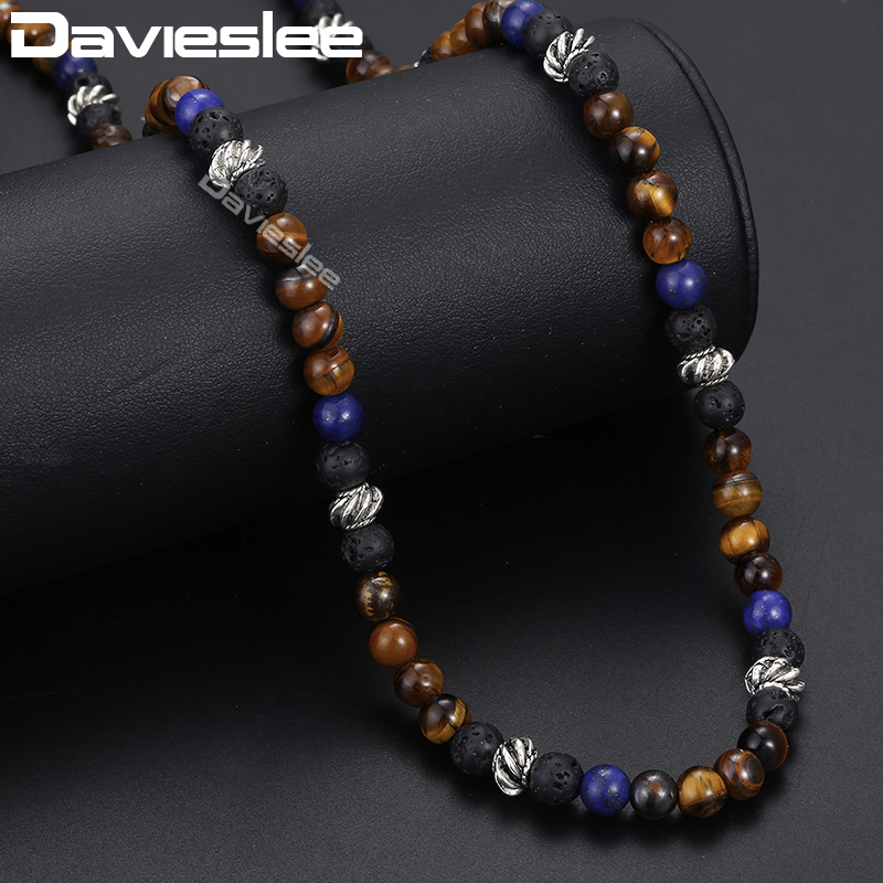 Davieslee Tiger Eye Stone Beaded Necklace For Men Stainless Steel Lantern Charm Men's Necklace Male Jewelry 2018 Gifts 6mm DDN25