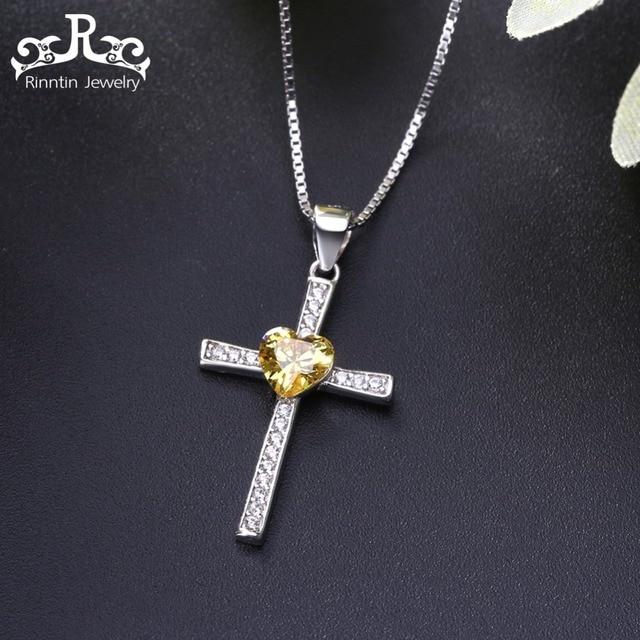 Rinntin Reale Dell'argento Sterlina 925 Collana Donne Croce 6 Colori AAA Zircone Cuore Lucido Pendente Femminile Gioielli Religiosi TSN88