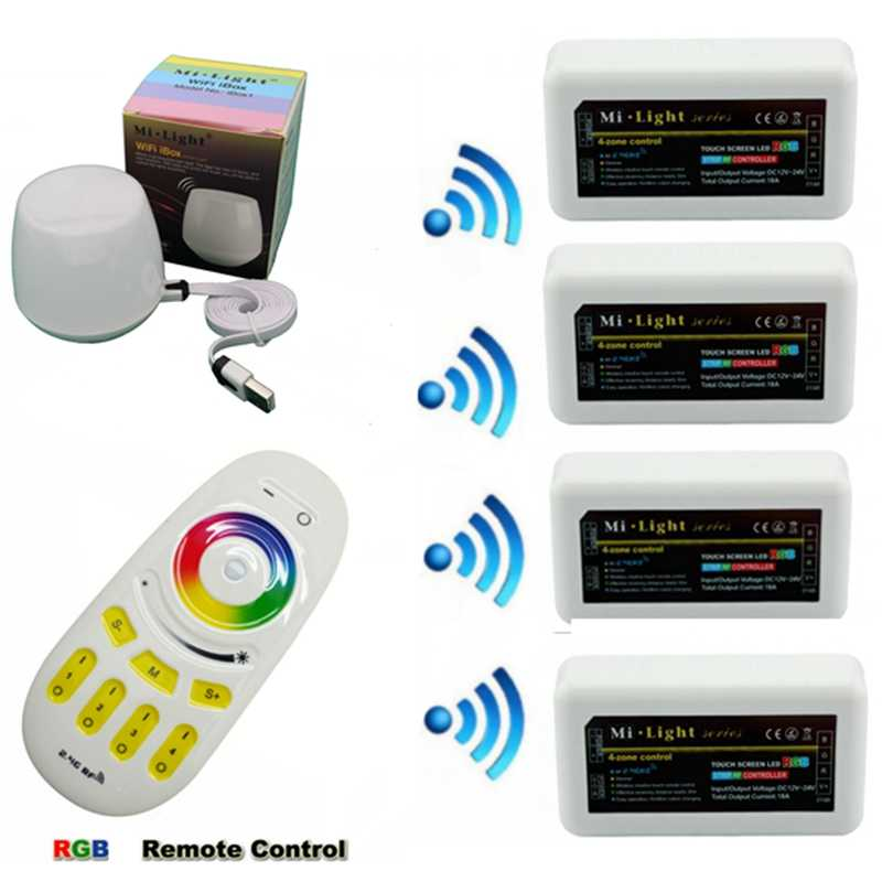 Mi lampu RGB LED Controller Dimmer DC12-24V 24A + 2.4G 4 Zona RF Wireless Touch Remote IBox1 untuk RGBW LED Strip Lampu