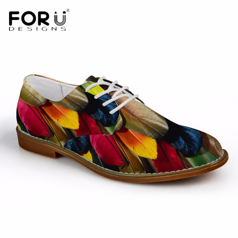FORUDESIGNS Oxfords Shoes for Men Flats Colorful Feather Pattern Brand Designer Men s Casual Oxford Shoes
