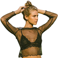 Sexy Glitter Mesh Blouse Shirt Slim O Neck Long Sleeve See Through Ruffles Women Tops Streetwear Blusas Tops