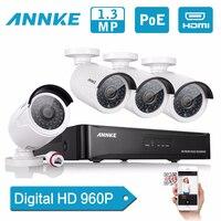 ANNKE 4CH HD 960 P PoE NVR IP набора Камера видеонаблюдения Системы 1.3MP POE CCTV IP сети домашнее видео комплект видеонаблюдения удаленного доступа