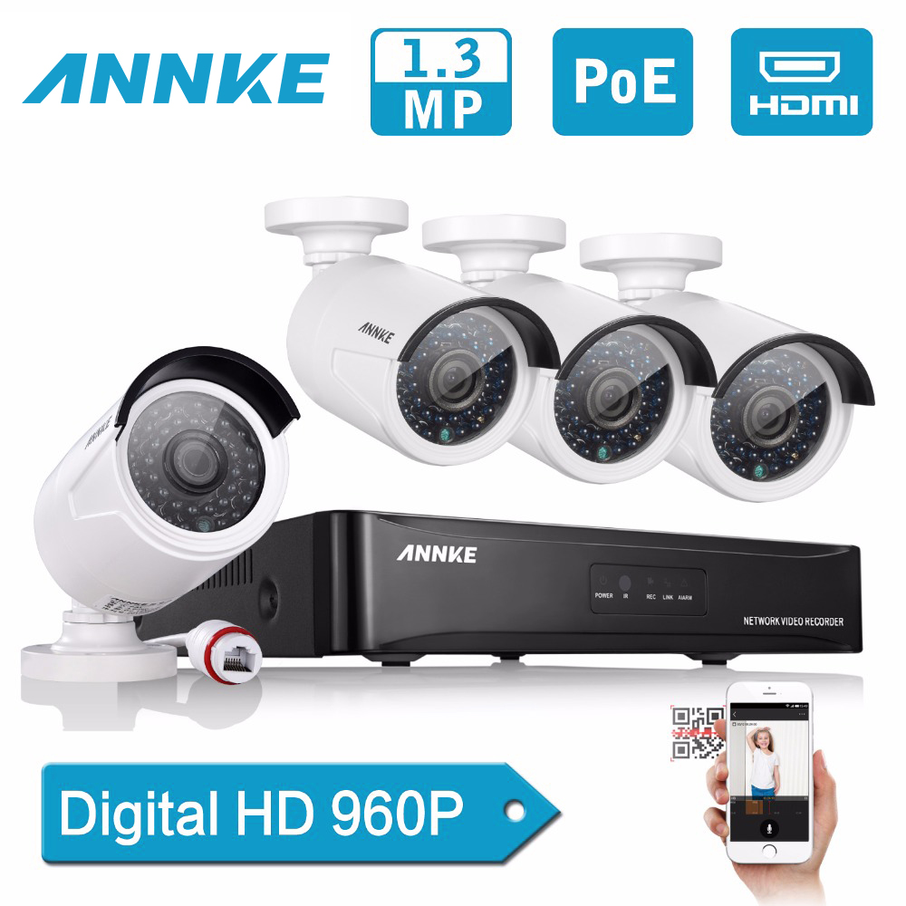 ANNKE 4CH HD 960P PoE NVR Set IP Camera CCTV Security System 1.3MP POE CCTV IP Network home Video Surveillance kit Remote Access