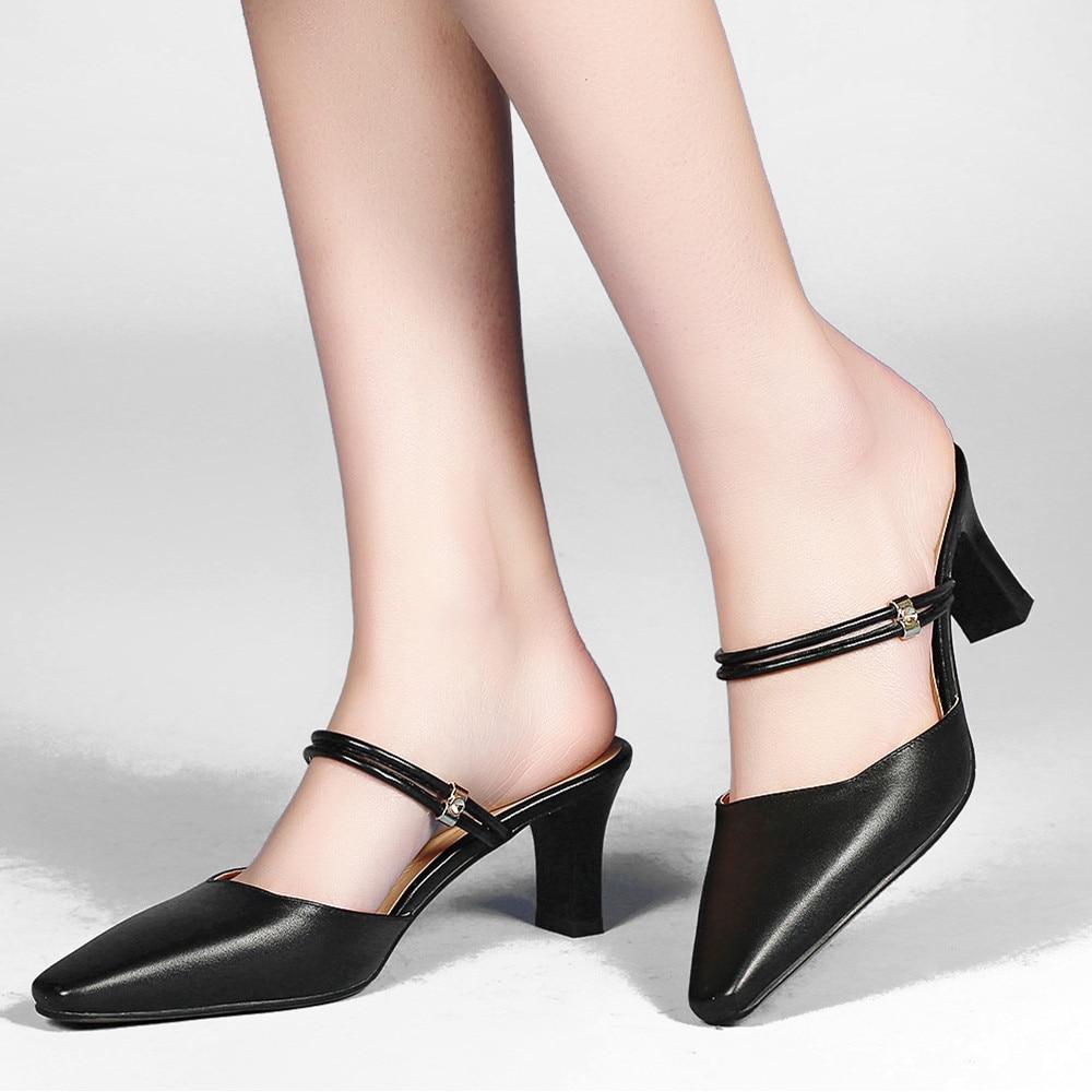 ФОТО 2017 Spring New Women's Med Heel Genuine Leather Pumps Brand Designer Square Toe Slingbakc Ladies Elegant High Heels Shoes Women