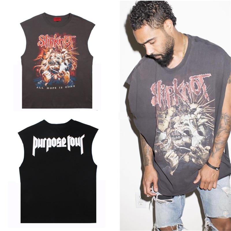 62ed10c41 Punk Band Hip pop men tank tops Summer Purpose Tour Oversize Vintage  black/gray sleeveless man teenager boy singlets tops M-XL