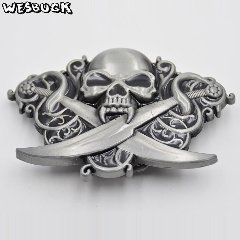 Vintage Skull Belt Buckle Western Cowboy Triple Skull Head Belt Buckle for Mens Womens