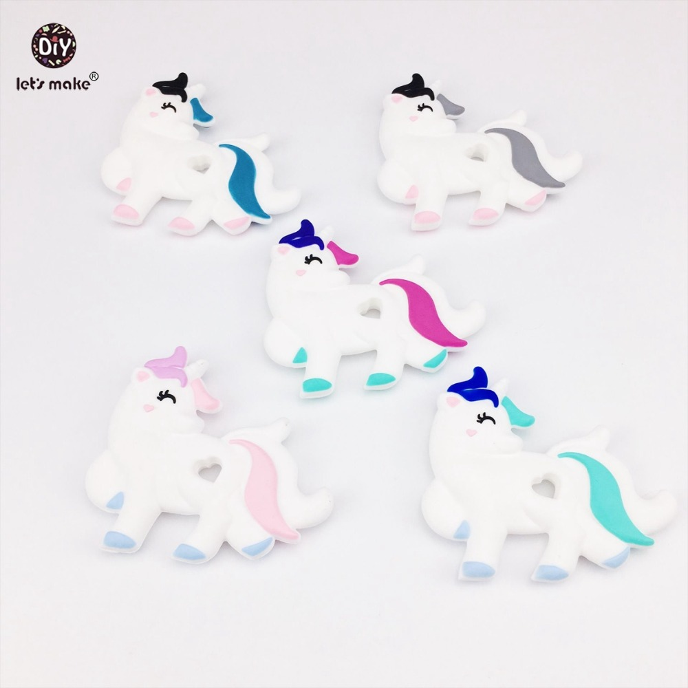 Lets Make 10pc Silicone Unicorn Baby Teether Lovely Diy Nursing Teething Necklace Accessories Chew Food Grade Silicone Teether