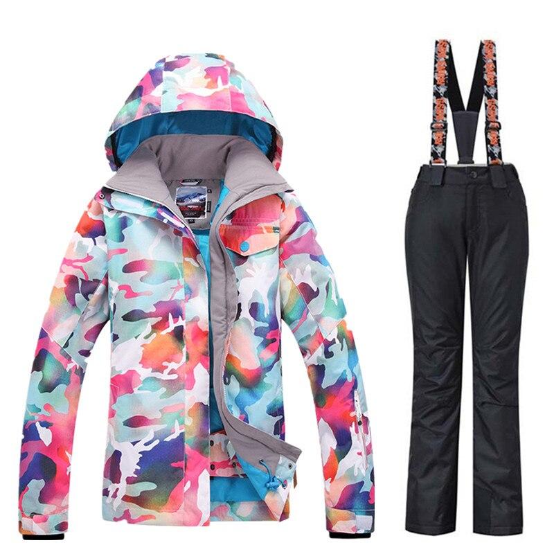 GSOU neige marque Ski costumes femmes veste de Ski + pantalon de ski ensembles de Camouflage hiver extérieur imperméable coupe vent garder au chaud veste de neige - 3