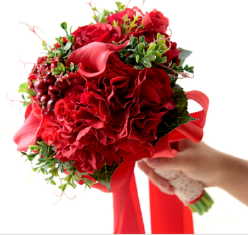 New Design Red Bridal Hand Holding Wedding Bouquet Artificial Asia Style Bride Mariage Bouquet Artificial Flowers Cheap