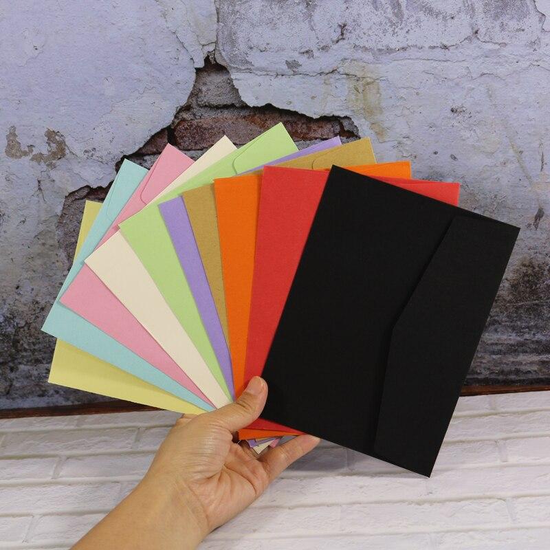 10 Color Envelopes 50pcs Blank Paper Bag Postcard Greeting Card Gift  Wedding Invitation Envelope Card Package Envelope 12 5x17cm