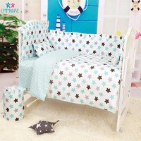 6Pcs Cartoon Baby Crib Bumpers Bed Around Cot Bed Sheets 100%Cotton Thickening Customizable Baby Beddings