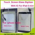 Nueva pantalla Táctil de cristal digitalizador lcd de panel con boton home con IC conector 1 unidades el envío libre + 3 M pegatina para el ipad 3 mini