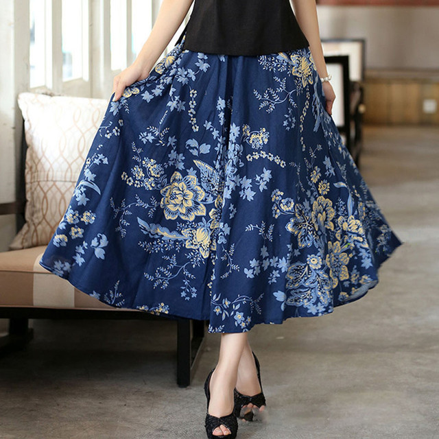 dd2d07bcbb63 Women character skirt cloud big swing skirts folk-custom ethnic Style linen  long skirts Ankle Length printed midi skirt women