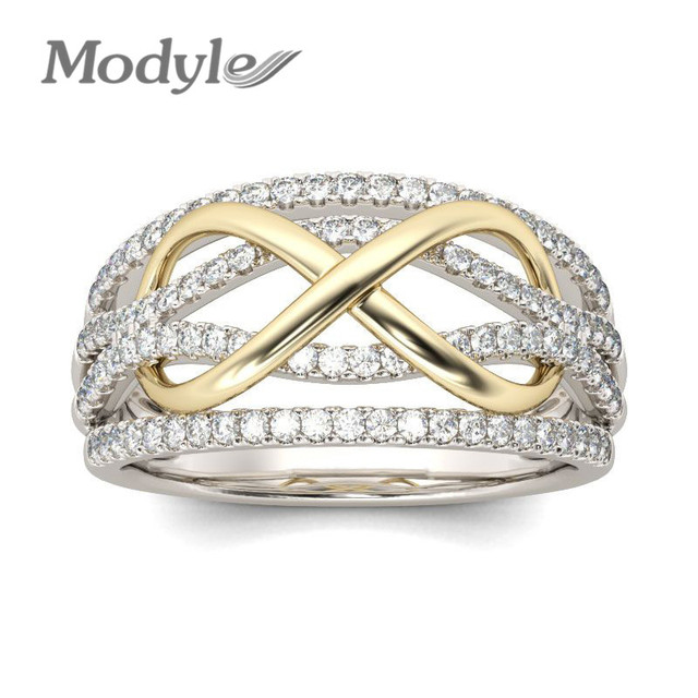 Modyle New Design Silver Color Crystal Wedding Ring for Woman With Gold Color Infinite Jewelry