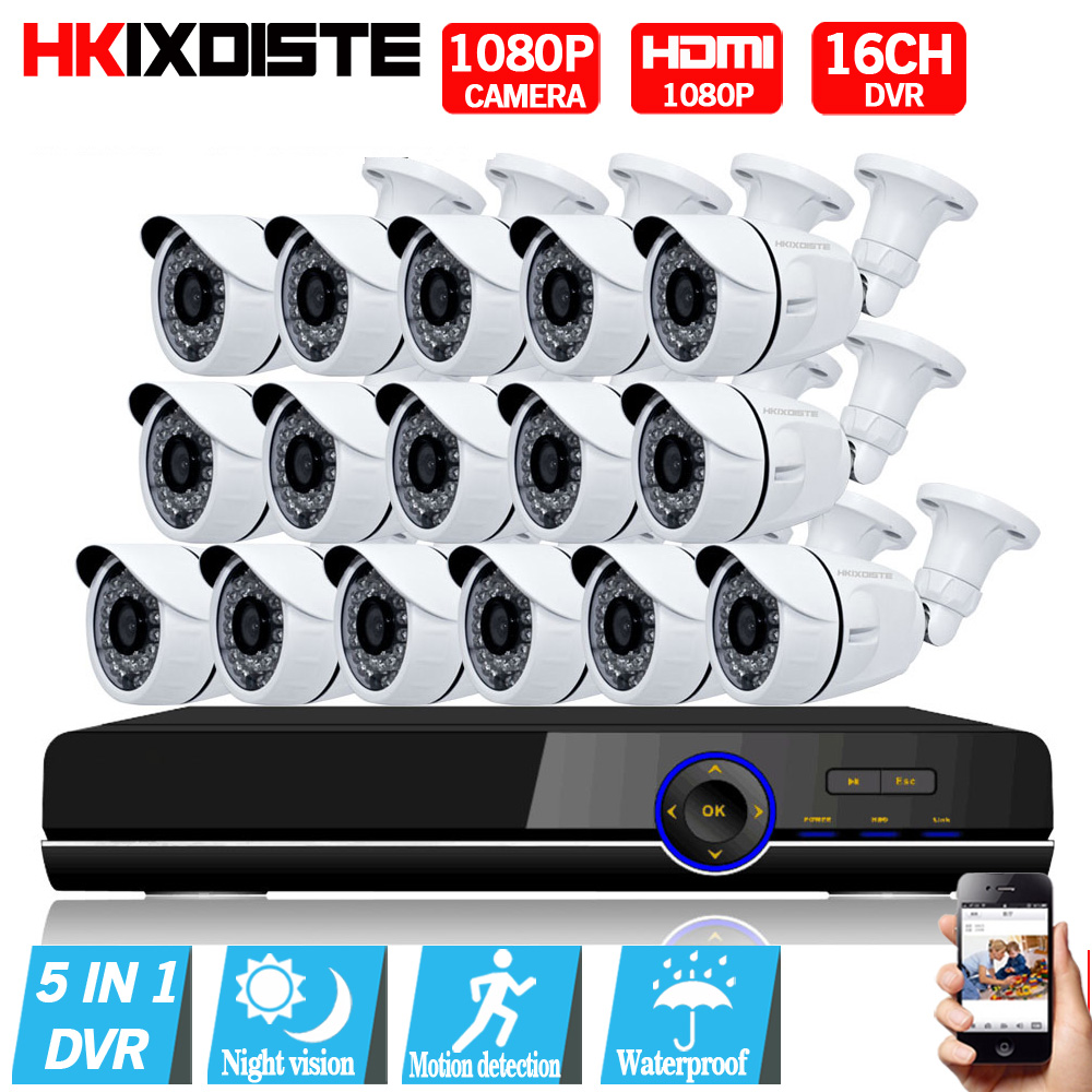 1080P AHD Camera 16CH System Kit CCTV 16 Channel AHD DVR Recorder+IR Outdoor Bullet 2MP AHD Camera System Waterproof nightvision anran new listing 8ch ahd camera system 1080n hdmi dvr p2p 8pcs 1 0 mp 1800tvl ir outdoor cctv camera system surveillance kit