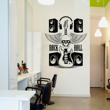 Art  Wall Sticker Music Headphone Room Poster Vinyl Art Removeable Wall Decoration Rock Roll Mural Poster Quality LY90 цена