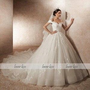 Image 3 - Minnaar Kus Vestido De Noiva princesa Luxe Kralen Off Shoulder Jurk met Trein Bruid Jurk gewaad mariee mariage