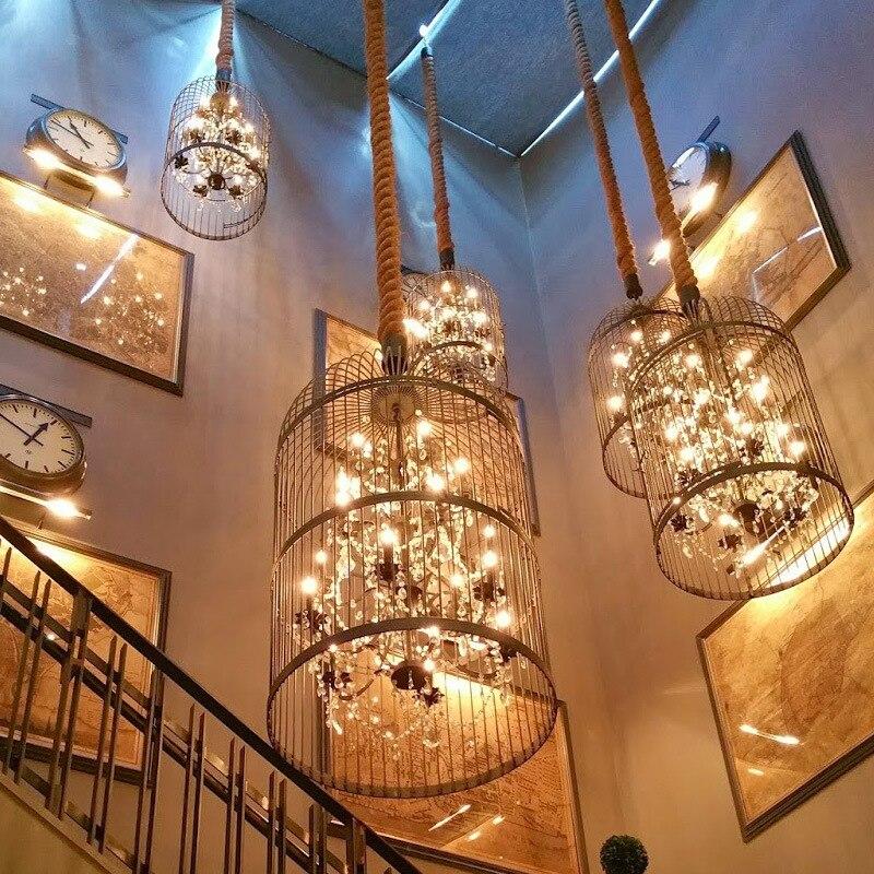 Retro Gaiola Luz Pingente de Cristal Lâmpada Interior Para Casa café Sótão Varanda Criativo Restaurante LED E14