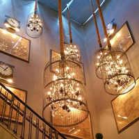 Retro jaula colgante de cristal de luz interior para el hogar tienda de café Loft creativo balcón restaurante LED E14