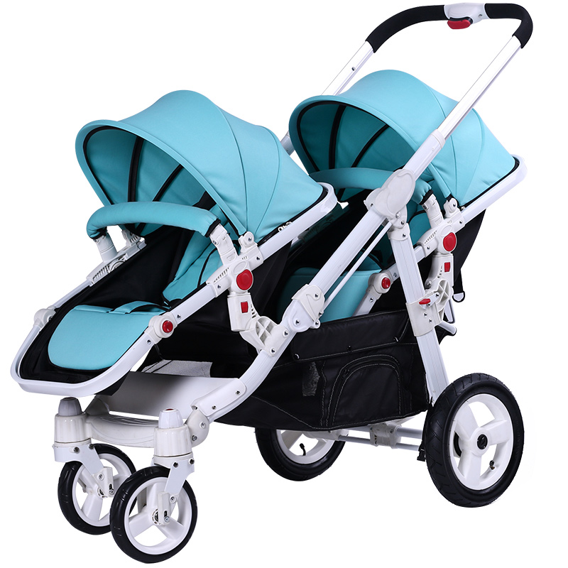 Motherknows Twin Stroller Can Sit, Lie, Front And Back Folding, High Landscape High-end Double Handcart