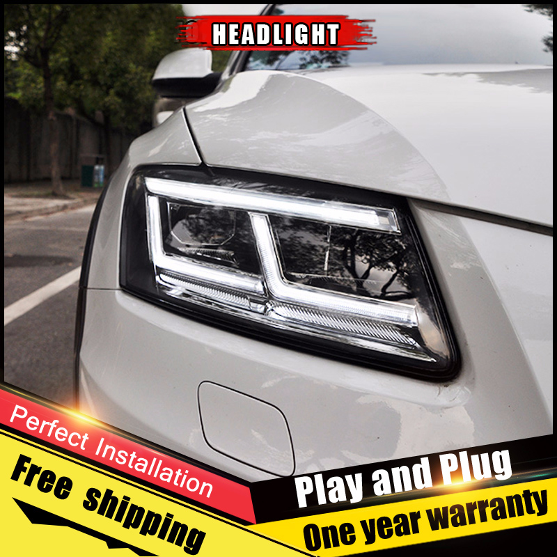 2 pièces Voiture Style LED phares fo Audi Q5 2009-2018 pour Q5 lampe frontale LED DRL Lentille Double Faisceau H7 Xénon CACHÉ bi xénon lentille