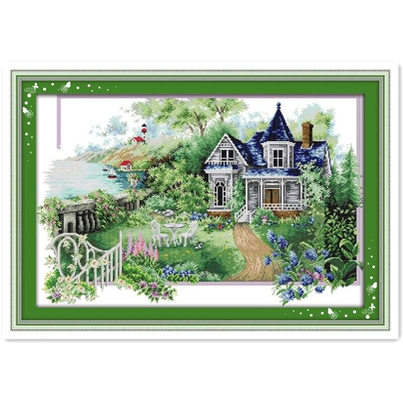 Green Village Printed Cross Stitch Diy Cross Stitch Kits Embroidery Needlework Sets Cross-Stitch Printed Cross Stitch Scenery