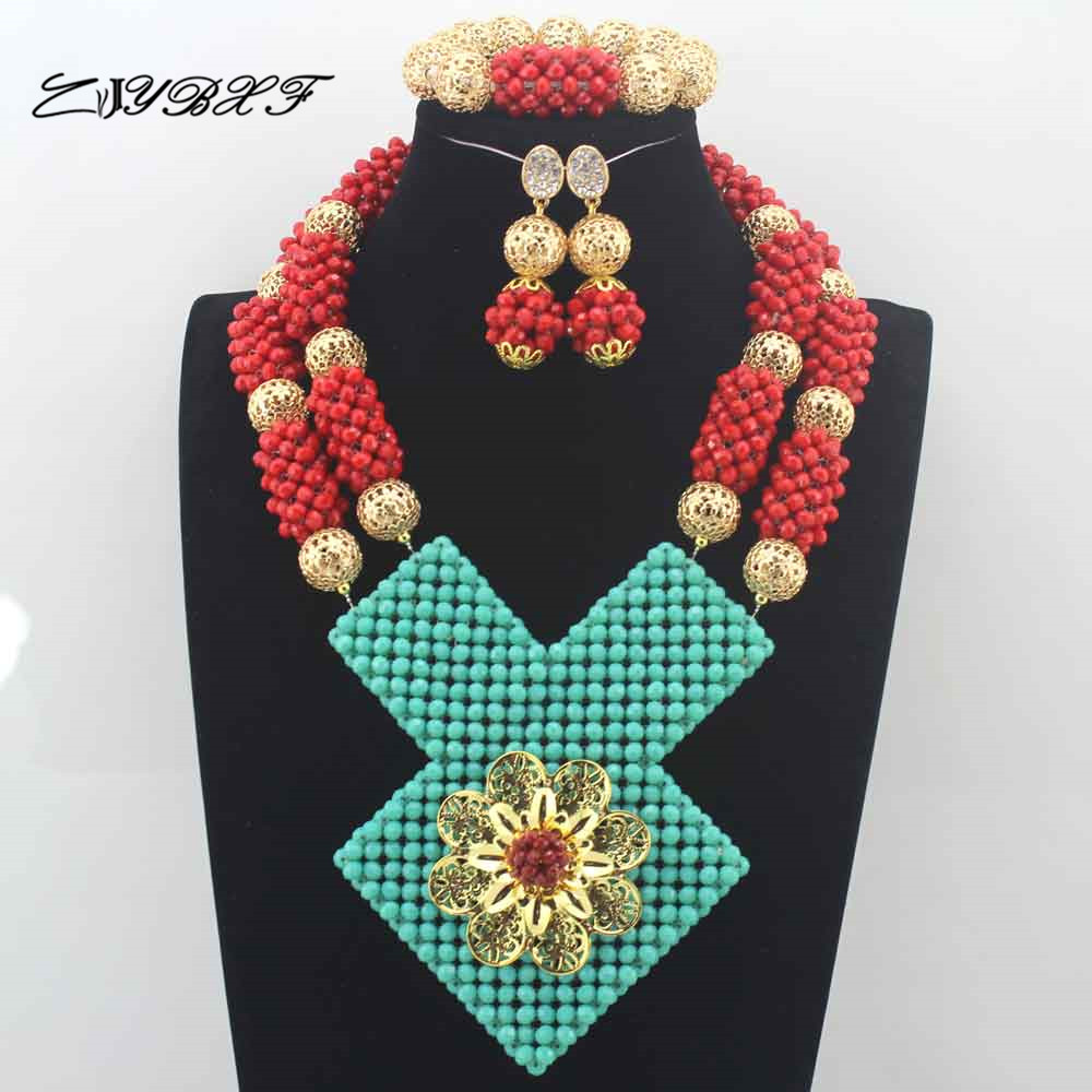 Red Beaded African Wedding Jewelry Set Red with Lake Blue Accessories African Beads Bridal Wedding Jewelry Necklace Set L0058