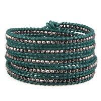 Boho Зеленые кожаные браслеты 5 Обертывания пистолет Серебряный бисера браслеты ручной работы для женщин подруга жена мама Bijoux Femme подарки