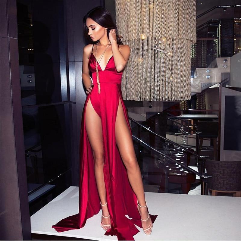 Sexy red satin dress