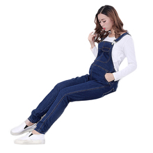 Fashion Dark Blue Hole Pockets Maternity Overalls Loose Adjustable Bib Pants Clothes for Pregnant Women Pregnancy Clothing