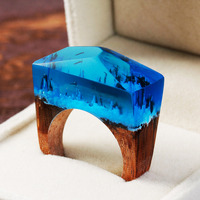 DoreenBeads Resin Unadjustable Wintry White Oak Enchanted Forest Wood Ring Deep Blue Faceted Rectangle16 9 17