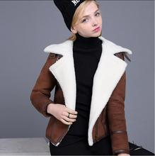 UUV Brand Short Sheepskin Suede Cloak  Winter Jacket Lapel Thick Warm Women's Motorcycle Coats Overcoat  JS130300580