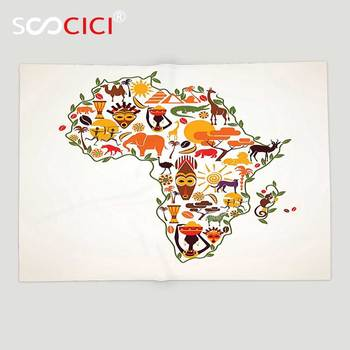 Custom Soft Fleece Throw Blanket African Decorations Africa Travel Map Plan Traditional Objects Continental Ethnic Culture Arts
