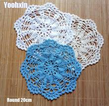 20cm Modern cotton placemat cup coaster mug kitchen Christmas dining table place mat cloth lace Crochet tea plate doily dish pad