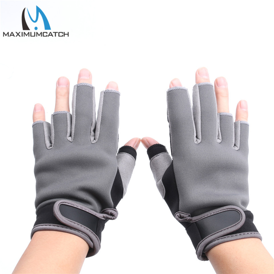 Maximumcatch 1 Para Halbfingerhandschuhe Elastische Neopren Angeln Handschuhe Wasserdicht Anti-Slip Angeln Handschuhe Schwarz & Grau Farbe
