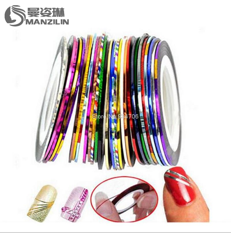 MANZILIN TZ0050 10pcs Nail Striping Tape Metallic Yarn Line 3d Nail Art Tool Color Roll Nail Decals Nail Tips Sticker Decoration 500pcs 37colors hot metallic yarn line rolls striping tape adhesive 3d nail art beauty sticker decoration wholesale