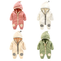 Baby Boys Girls Cotton Hooded Jumper Romper Long Sleeve 1piece Overall Outfit 2017 New Fall Infant
